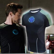Iron Man3 Tony Stark Arc Reactor Short Long Sleeve T-Shirt Tee Cosplay Mens Top