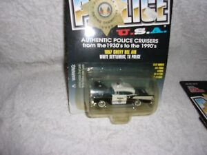 RACING CHAMPIONS POLICE U.S.A. 1957 CHEVY BEL AIR WHITE SETTLEMENT TX POLICE #56
