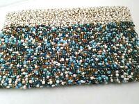 Handmade Beaded Zip Clutch Purse Wallet  Beige, Turquoise Multi-Colored.