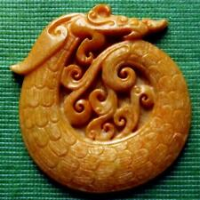 Japanese Zoomorphic Dragon Hand Carved Scrimshaw Jade Pendant 75mm