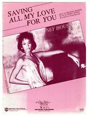 Whitney Houston Saving All My Love For You 1985 sheet music Masser/Goffin