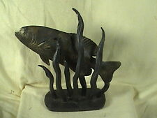 Metal Art Sculpture Trout Fish In Weeds Signed Mack Barth