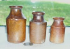 3 Nice Victorian Pottery Ink Bottles- 1860 period