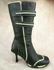 Vtg 90s Y2K Skechers Black Leather White Moto Euro Club Zip Boots Us 6.5 Uk 3.5