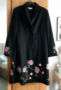 Laura Ashley Vintage Stunning Floral Embroidered Wool Cashmere Coat Size 12