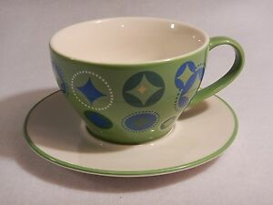 Starbucks Coffee Holiday 2006 1 Cup Tea Set Green Blue Christmas Stocking White