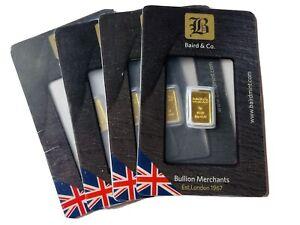 1 GRAM BAIRD & CO 999.9 FINE GOLD BAR IN BLISTER PACK UK MADE EST.LONDON 1967