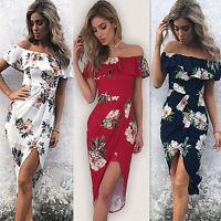 Womens Bardot Off Shoulder Floral Midi Dress Ladies Ruffled Beach Party Sundress