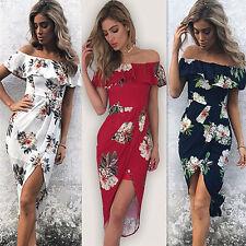 Womens Bardot Off the Shoulder Frill Ruffled Maxi Floral Bodycon Midi Wrap Dress