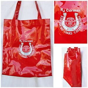 RJ CORMAN Railroad Embroidered Red Vinyl Tote Shop Bag KENTUCKY OAKS Horse Race