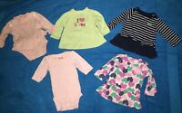 Lot Of 5 Baby Girls Long Sleeved Shirts - Size 3 Months