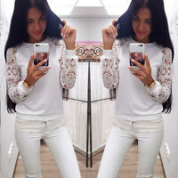 Damen Langarm Spitze Weiß T-Shirt Bluse Tunika Hemd Oberteil Tops Gr.34 36 38 40