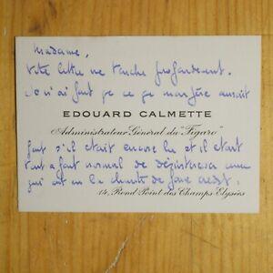 🌓 Édouard CALMETTE (1897-1938) CAS à Berthe CERNY Comédie Française Le Figaro