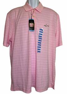 Mens Greg Norman Pink Polo Golf Shirt Size L Short Sleeve 1/4 Button Up