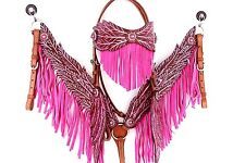 PINK ANGEL WING LEATHER HEADSTALL WESTERN HORSE FRINGE BRIDLE BREASTCOLLAR SET