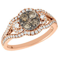 14K Rose Gold Round Cut Brown Diamond Curved Flower Engagement Ring 0.75 Ct.