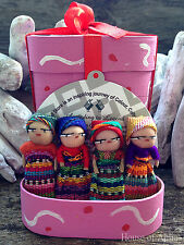 WORRY DOLLS FOR GIRLS IN PINK BOX ~  HAND MADE IN GUATEMALA~ MAYAN ARTISANS