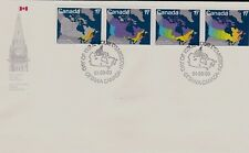 Canada 1981 First Day Cover / Strip Of 4 Stamps / Map Showing Provincial Boundri