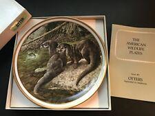 Nib Vintage Lenox American Wildlife Otters Collector Plate by Norman Adams