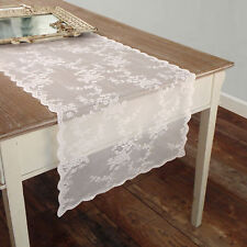 Runner Pizzo Poliestere Shabby chic Poly-Ciel Collection Colore Bianco