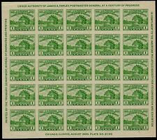 APS CONVENTION US 1933 SCOTT #730 1c FT DEARBORN 20 MNH VF NG IMPERF STAMP SHEET