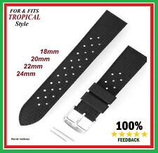FOR & FITS TROPICAL STYLE DIVERS RUBBER WATCH STRAP 18mm, 20mm, 22mm, 24mm