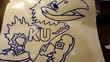 Kansas university KU jayhawk 10x10 vinyl decal blue great college student gift