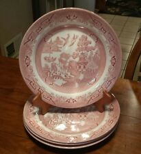"""LOT 4 CHURCHILL ROSA PINK WILLOW DINNER PLATES 10 1/4"""" MADE IN ENGLAND"""