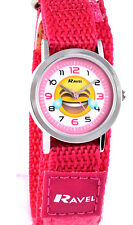Ravel Childs Girls Kids Emoticon Emoji Pink Watch Fast Fit Adjustable Strap