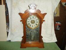 Antique Victorian walnut fancy shelf, mantle or kitchen clock,