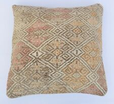 Turkish Pillow Cover, 16''x 16''  Striped Kilim Pillowcase, Bohemian Pillowcase