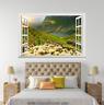 3D Sunny Flowers Grass 0167 Open Windows WallPaper Murals Wall Print AJ Carly