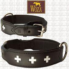WOZA Premium Dog Collar Swiss Full Leather Padded Genuine Cow Napa Handmade H791