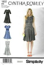 Simplicity Pattern 1802, Cynthia Rowley Contrast Piped Panel Dress Size 6-14 New