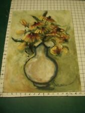 Original ROSE SUSLOVICH ART -- flowers in pot  - signed on paper/board