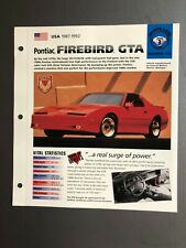 "1987 - 1992 Pontiac Firebird GTA IMP ""Hot Cars"" Spec Sheet Folder Brochure L@@K"