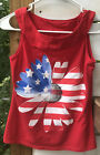 Justice Youth Girl's smaller Sz.14 Red Knit Top Patriotic Daisy Sparkle Glitter