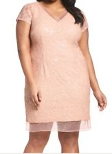 NEW Adrianna Papell  Blush Pink Sequin Cocktail Dress  short sleeve Plus 22w