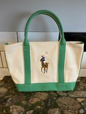 Ralph Lauren Polo Canvas Tote Bag Green And Cream - 100% Cotton - Authentic Bag