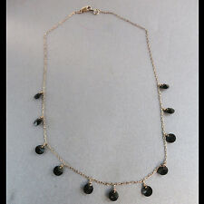 6mm two faceted Onyx  Link Necklace on Yellow Gold filled 16mm chain