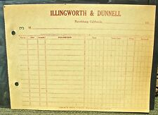 """1910s RANDSBURG CA CALIFORNIA (MINING GHOST TOWN) """"ILLINGWORTH & DUNNELL"""" PAPER"""