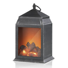 LED Laterne Flammen Effekt Kamin Feuer Optik Batteriebetrieb 27,5cm Lampe