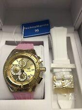 Technomarine TM-115311 Unisex Cruise Star 40mm Gold Dial Watch Bonus Pink Strap