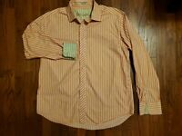 Robert Graham Contrast Flip Cuff Button Shirt L/S Mens XXL 2XL Salmon Stripe