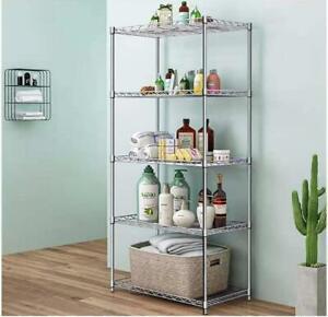 Heavy Duty 5 Tier Metal Storage Rack Shelves Kitchen Storage Home Standing