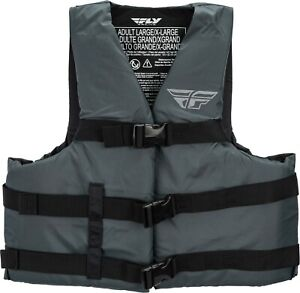 Fly Racing PWC Boat Use Nylon Life Vest Adjustable Straps Adult Sizes Black NEW