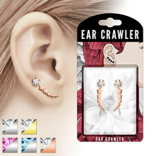 Pair of Ear Crawler Cuffs Piercings with Shooting Star Gem