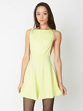 NWT American Apparel Women's Ponte Sleeveless Skater Dress Citron Size SMALL S