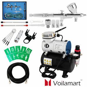 Voilamart 1/6HP Airbrush Compressor Kit Dual Action Air Brush Spray Gun 3 Needle