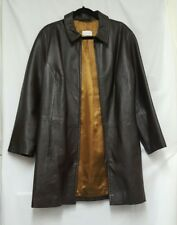 Womens Platinum Leather Coat Size L (14 - 16)  Brown Leather Coat Trench Coat